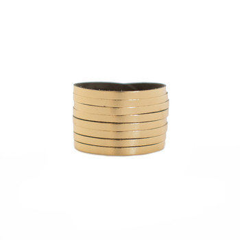 N&S Signature Gold Slit Leather Cuff Nickel and Suede