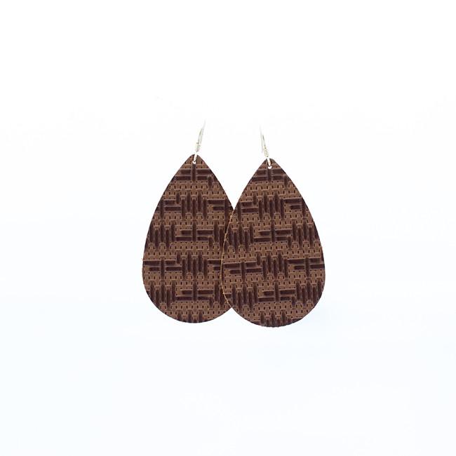 Vintage Tweed Nickel and Suede Leather Earrings