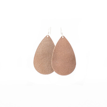 N&S Signature Rose Gold Leather Earrings