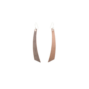 N&S Signature Rose Gold Accent Leather Earrings