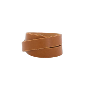London Tan Leather Wrap Cuff Nickel and Suede