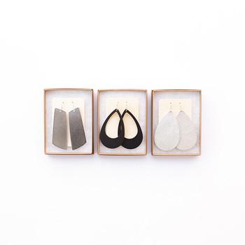 N&S Leather Earrings Gift Set- SILVER