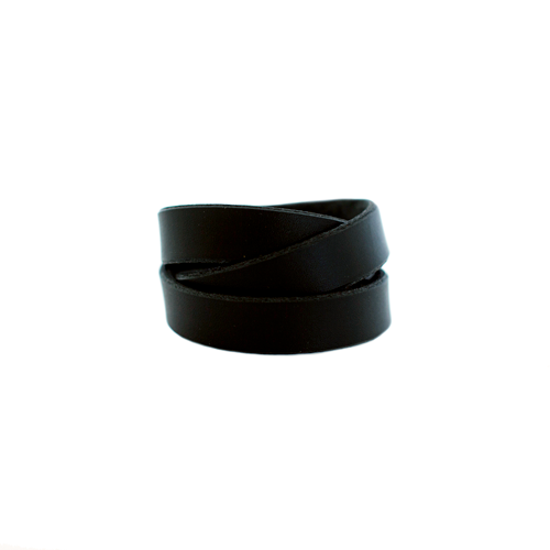 Black Wrap Leather Cuff Nickel and Suede