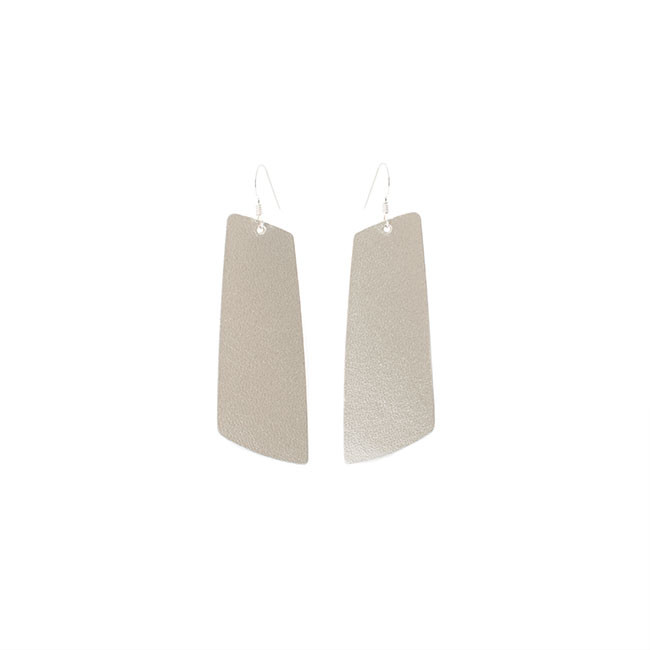 N&S Signature Platinum Leather Earrings Nickel and Suede