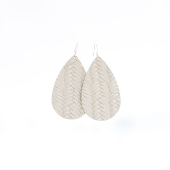 Ivory Knit Leather Earrings Nickel and Suede