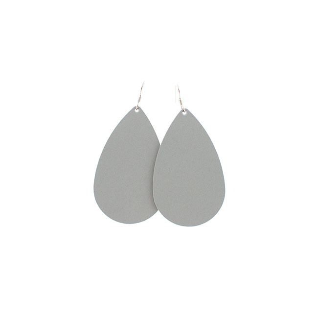 N&S Select Gray Leather Earrings Nickel and Suede