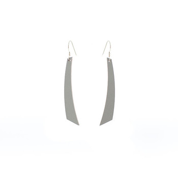 N&S Select Gray Accent Leather Earrings Nickel and Suede