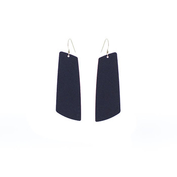 Navy Baby Gem Leather Earrings