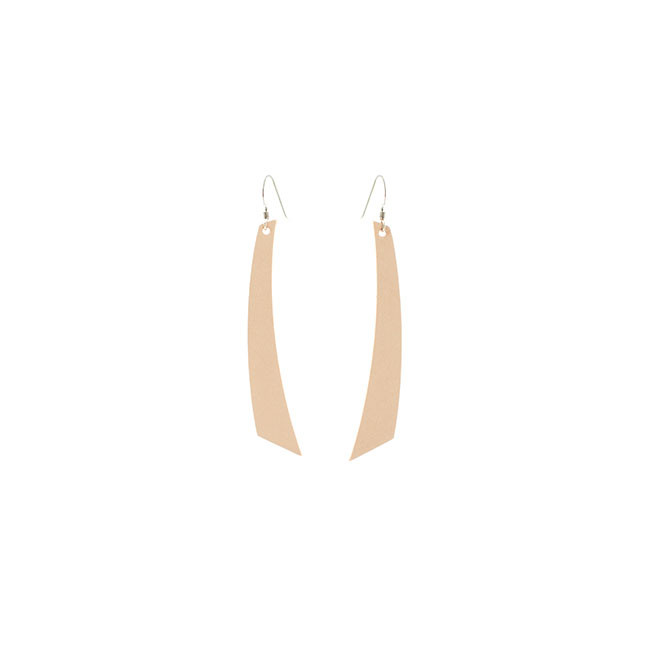 Natural/Nude Accent Leather Earrings Nickel and Suede