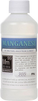 Manganese comes in 8, 16 and 128 ounce bottles.