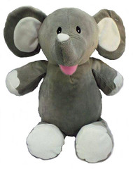 Personalised Cubby – Grey Elephant with a personalised teddy bear message