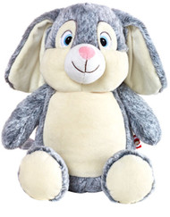 Personalised Cubby – Grey Rabbit with a personalised teddy bear message