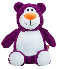 Personalised Cubby – Purple Bear with a personalised teddy bear message