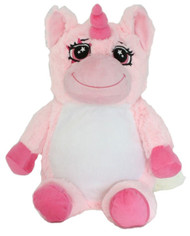 personalised Pink Unicorn Snugabudz with birth details