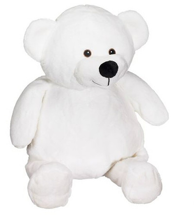 personalised White Bear Embroider Buddy with birth details