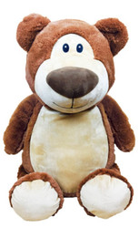 Personalised Hug-Me Cubby - Brown Bear with a personalised teddy bear message