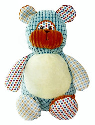 A message from the heart embroidered onto a Harlequin Bear Cubby