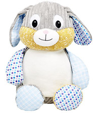 Personalised Blue Harlequin Rabbit Cubby with any message on it