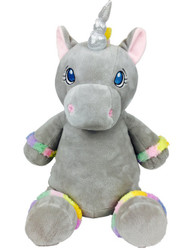 Grey Unicorn Cubby with a personalised teddy bear message