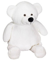 Personalised Embroider Buddy – White Bear with a personalised teddy bear message