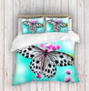 3D Butterfly Aqua Duvet Cover Set