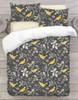 3D Birds Duvet Cover Set Charcoal