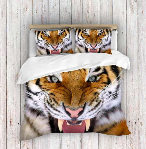 3D Angry Tiger Face Duvet Cover Set