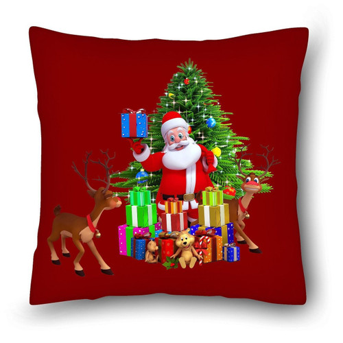 Santa With Christmas Gifts Cushion Cover