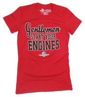 Ladies Wing Wheel and Flag Gentlemen Start Your Engines Tee