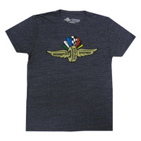 Wing Wheel and Flag Navy Weathered Triblend Tee