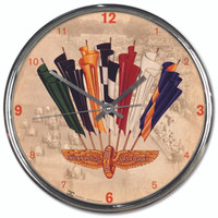 Wing Wheel and Flag Vintage 1955 Chrome Clock