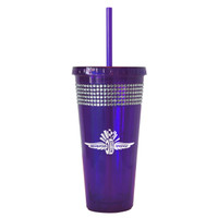 Wing Wheel and Flag Purple Bling Tumbler w/Straw