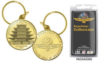 Wing Wheel and Flag Pagoda Bronze Coin Keychain