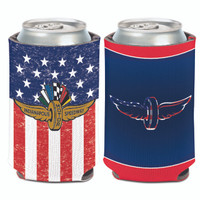 Wing Wheel and Flag Patriotic 2-Sided Can Cooler