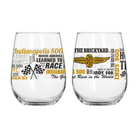 Indianapolis Motor Speedway Stemless 16oz Spirit Wine Glass