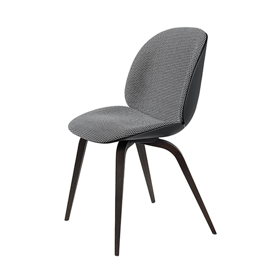 Gubi Beetle Chair Wood Base Front Upholstered in Backhausen Korb MC741E09/black shell