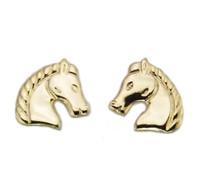 Gold Regal Horse Head Earrings
