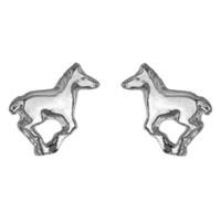 Silver Running Pony Earrings