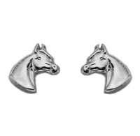 Silver Pony Head Earrings