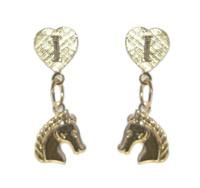 Gold I Love Horses Dangle Earrings with Horse Head