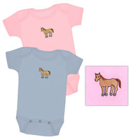 Baby Body Suit, Equine Couture, Light Pink and Light Blue