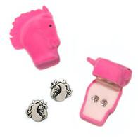 Fancy Horse Head Earrings in Horse Head Gift Box