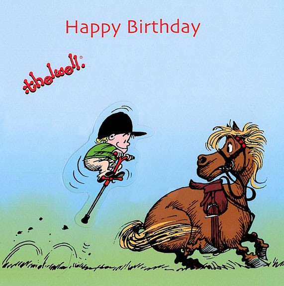 "Thelwell Birthday Card ""Pogo Stick"""
