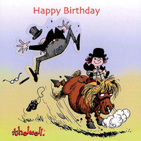 Thelwell Birthday Card 'Kicking'