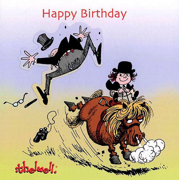 Thelwell Birthday Card 'Kicking