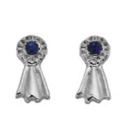 Silver Blue Ribbonn Earrings