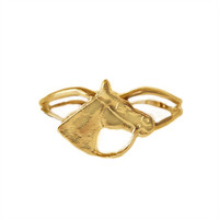 Gold Small Bridled Horse Head Adjustable Ring from Finishing Touch