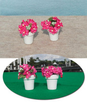 Flower Pots with Pink Flowers for Model Horse Jumps