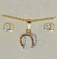 Gold and Silver Double Horseshoe Gift Set