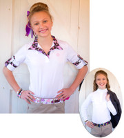 Kathryn Lily ProAir Long Sleeve Shirt, White/Pretty Ponies, Size Large Only